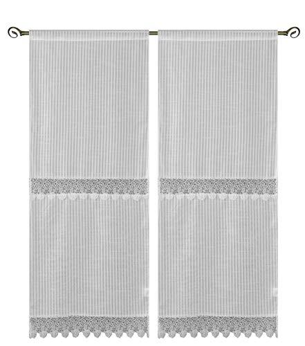 Par de cortinas Lille efecto lino macramé semicubriente crema
