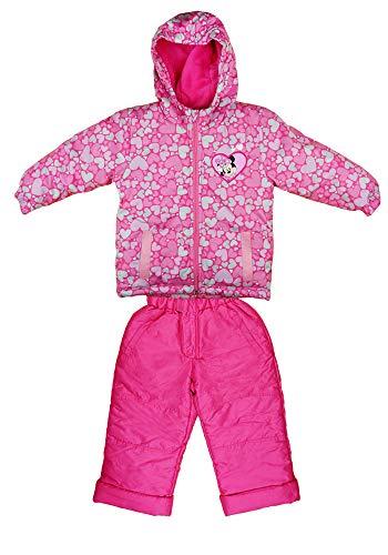 Kleines Kleid Baby Mädchen Minnie Mouse Disney 2-Teiler Outdoor Winter-Jacke mit Schnee-Overall Matsch-Hose in Größe 80 86 92 98 104 110 116 122 für 1 2 3 4 5 6 Jahre (104_110, Modell 1)