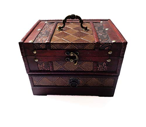 ISOTO Retro Vintage Wooden Jewelry Box Storage Box Organizer Container Case Chest Trinket Box with Mirror for Gilrs Girlfriend Women for Mother's Day (Style 2)