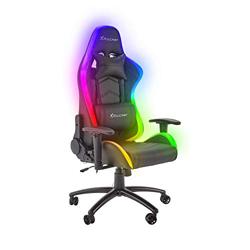 X Rocker Bravo RGB PC Gaming Chair with Neo Motion LED Lighting, Ergonomic High Back Office Chair, Height Adjustable Seat & Swivel, PU Faux Leather, Black