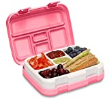 MunchBox Bento Lunch Box with 5 Compartments, Kids & Toddler BPA Free Plastic Snack Box, Adult Food Storage Container with Leak Proof Silicone Lid. Perfect Baby Food Snack Bento Boxes