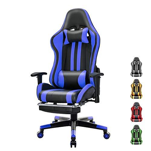 Soontrans Silla Gaming con Reposapies Ergonómica Silla Gamer Computadora Oficina con Reposacabeza Apoyo y Cojín Lumbar, Reposabrazos Ajustable, para Los Jugadores de PC Gamer (Azul)