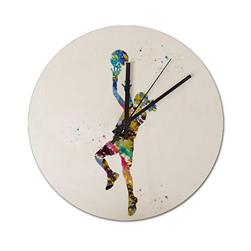 Pealrich Reloj de pared de 25 x 25 cm, diseño de jugador de baloncesto femenino de madera, reloj de sala de estar, reloj de decoración del hogar