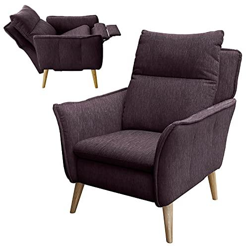 place to be. Relaxsessel mit Motor Fernsehsessel mit Liegefunktion und Schlaffunktion TV-Sessel Wohnzimmer Aubergine M12140 mit Fleckschutz Eiche massiv