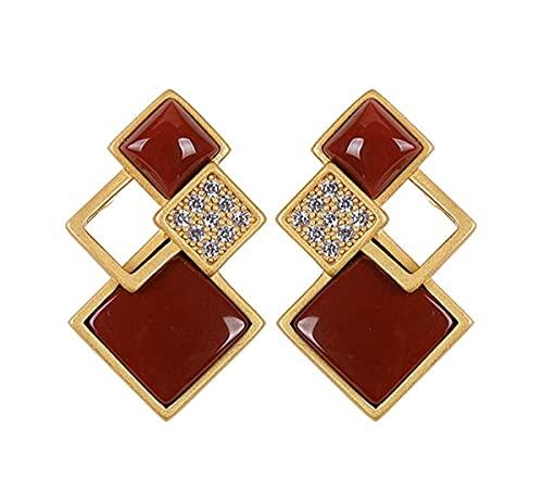 RAN 925 Pendientes de Plata esterlina Forma geométrica de la joyería de la ágata Natural Bodas Accesorios de Banco Regalos