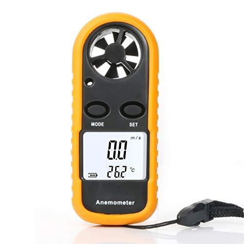 Decdeal Windmesser Digital Anemometer mit Thermometer Windmessgerät mit LCD Hintergrundbeleuchtung für Wetterdaten und Outdoor-Sport Windsurfen Segeln