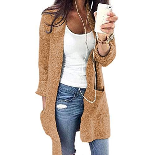 Maglione Cardigan da Donna, Wudube Giacca in Maglia Aperta Aperta Casual Solida con Tasche Maniche Lunghe Tuta Sportiva per L'Autunno Inverno