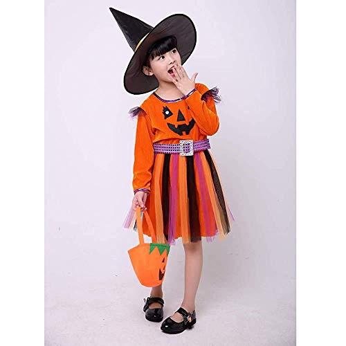 Kaku Fancy Dresses Halloween Pumpkin Dress with Hat and Candy Basket Halloween Costume for Girls - Orange, 5-6 Years