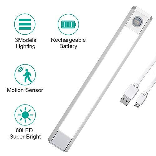 Vidence Luz Armario con Sensor de Movimiento, 60 LED Luz Nocturna USB Recargable, 3 cambio de color, para Armario/ Gabinete/ Escalera/ Sótano/ Cocina/ Pasillo