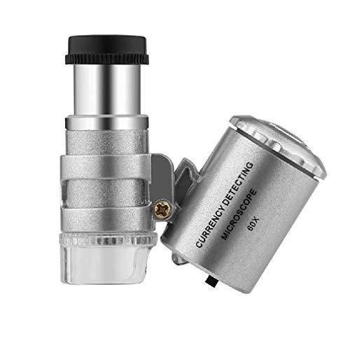 Kshcf Mini Pocket Microscope 60x Handheld Jewelry Antiques Folding Observed Magnifier