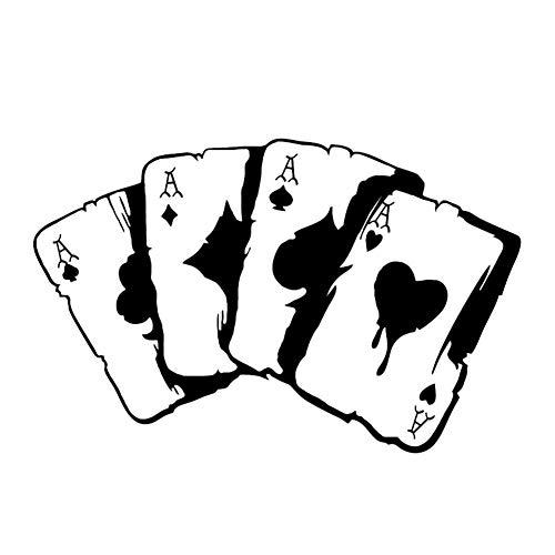 EROSPA® Aufkleber KFZ Auto Motorrad - Poker Asse - Kartenspiel - Car-Sticker (Schwarz)