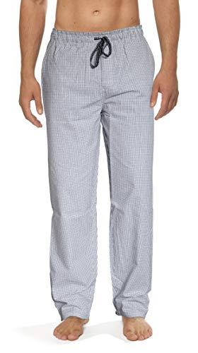 Moonline - Herren Webhose Freizeithose Loungewear aus 100% Baumwolle, Farbe:schwarz/weiß, Größe:54-56