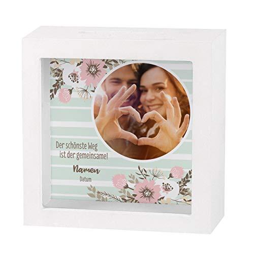 Herz & Heim® Geldgeschenk zur Hochzeit als Bedruckte Bilderrahmen Spardose mit Foto
