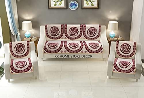 KK Home Store Decor Velvet Reversible Sofa Cover Set with Heavy Fabric 500 TC Floral Design 5 Seater Sofa Cover -  Set of 10 Piece  -  Reversible  -Use for Both Side-Multi
