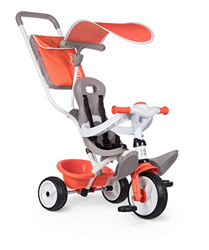 Smoby - Tricycle Baby Balade Rouge - Vélo Evolutif Enfant Dès 10 Mois - Roues Silencieuses - Klaxon - 741105