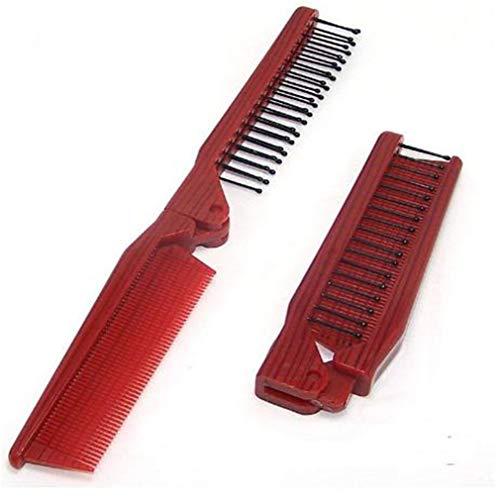 KUHRLRX Peigne Pliant en Métal Pliant Peigne À Poche pour Hommes en Acier Inoxydable Tondeuse À Cheveux Peignes Huile De Cheveux Accessoires