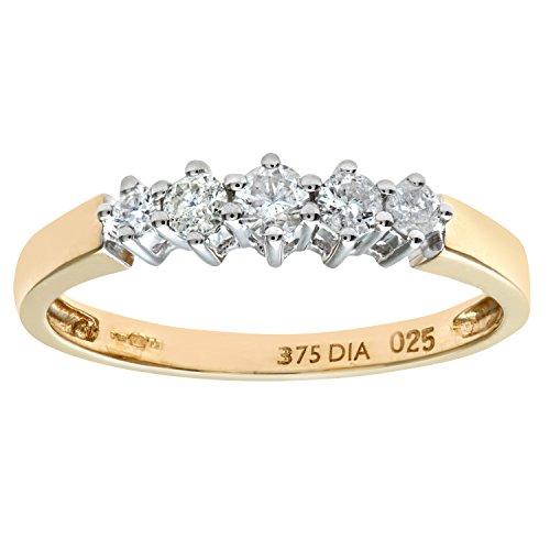 Naava Women's 9 ct Yellow Gold 0.25 ct Diamond Graduated Eternity Ring, Yellow Gold, O