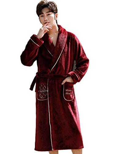 BLACK ELL Albornoz suave de invierno, cálido, bata de baño perfecta para gimnasio, pijama de forro polar coral de invierno, bata de baño de franela gruesa, talla XXXL_maleF