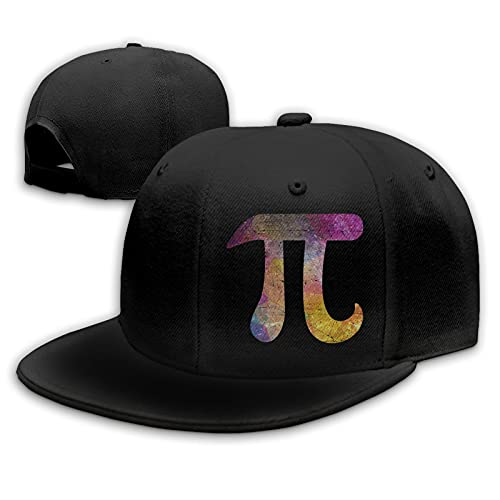 Zusolf Colorful Pi Math Flat Bill Hat Snapback Hats for Men Baseball Cap Trucker Hats Mens Adjustable Black