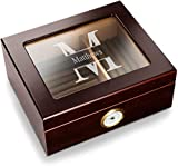Best Cigar Humidors - Personalized Humidor Box with Glass Top and Round Review