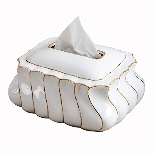 XXCHUIJU Tenedor de la Cubierta de la Caja del Tejido de la cerámica, el Hueso del hogar Simple China Bandeja de Oro de la Bandeja de Oro/Blanco / 20 × 12.5cm (Color : White, Size : 20×12.5cm)