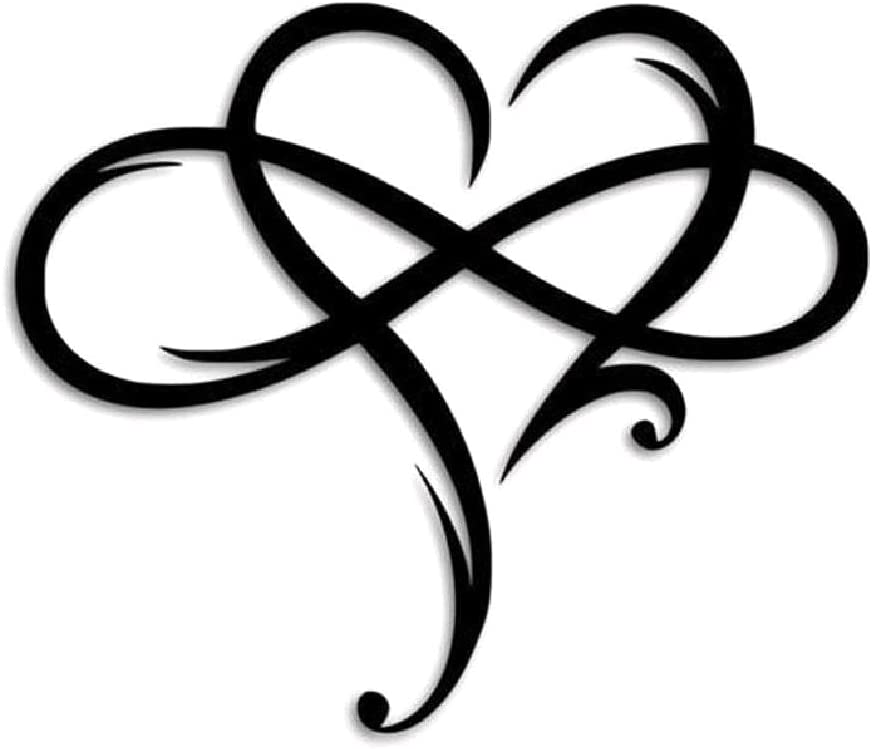 MAOSUO Infinity Heart Wall Decor, Black Metal Wall Art Heart Sign Decor,Wall Yard Art Heart Ornaments for Outdoor Garden Home Living Room Bedroom Decor,Two Optional Sizes