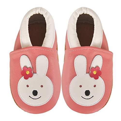 Nasonberg Zapatillas para aprender a andar, para bebé, niños, niñas, gatear, de piel, suela antideslizante, piel suave, para aprender a caminar, color, talla 0-6 meses