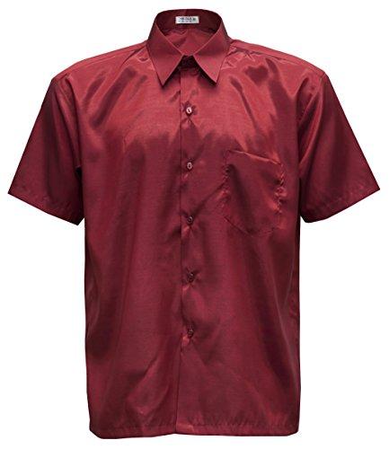 THAI SILK Herren Kurzarmhemd (Rot, XXXL)
