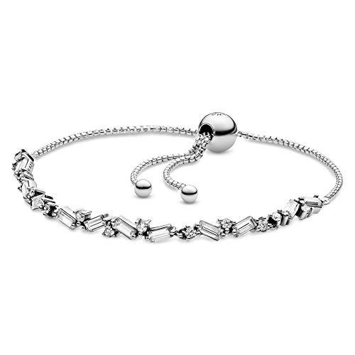 "Pandora Jewelry Glacial Beauty Sliding Cubic Zirconia Bracelet in Sterling Silver, 9.8"""