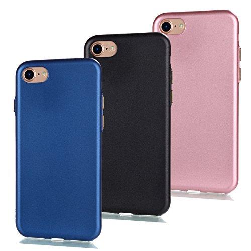 Uposao Set d'accessoires 3 en 1 pour iPhone 7 Plus - Coque de protection en silicone TPU - Transparent - Bleu foncé + noir + rose