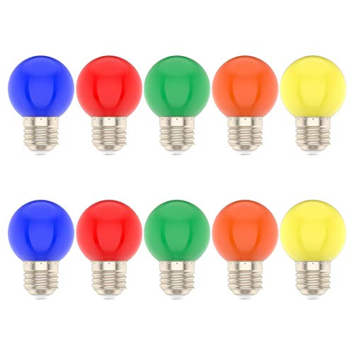 10 * 1W Lampadina Colorata a LED E27 per Matrimoni Halloween Christmas Party Bar Mood Ambiance Decor (Multicolore)