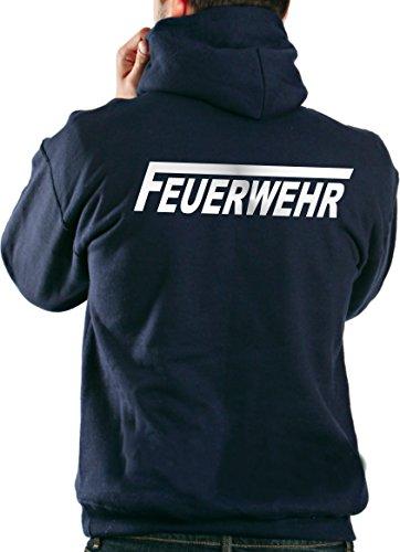 feuer1 Kapuzensweater Feuerwehr in Navy mit Silber reflektierendem beidseitigem Schriftzug mit langem F