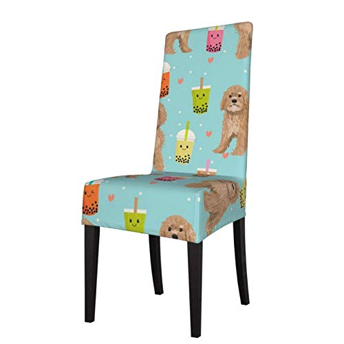 Chair Covers Cavoodle Bubble Tea Boba Kawaii Cute Cavapoo Pattern Light Blue Dining Room Chair Covers Slipcovers Stretch Removable Washable Chair Covers Protector for Kitchen, Restaurant, Pa