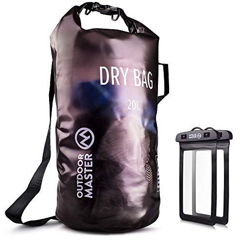 OutdoorMaster Dry Bag- 5L/10L/20L Stylisher Leichter Trockensack mit 2 freie wasserdichte...