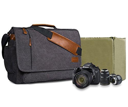 Estarer Kameratasche Fototasche SLR/DSLR/Spiegelreflex Kamera Umhängetasche aus Wasserabweisend Canvas 15,6 Zoll/14 Zoll Grau (14 Zoll)