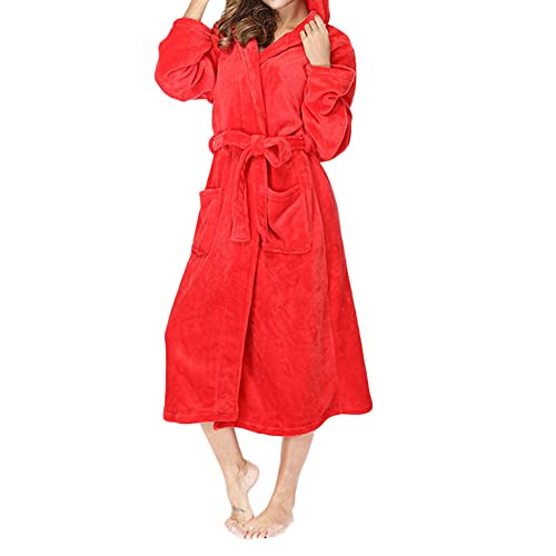 YAOTT Bata De Baño Para Mujer Con Bolsillos Fluffy Capucha Albornoz Homewear Otoño Invierno Kimono Albornoz Manga Larga Dormitorio Cálido Ropa De Dormir,Rojo,XL
