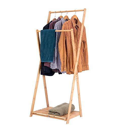 HEUTE Perchero de bambú con 2 barras, zapatero, 60 x 56,5 x 150 cm