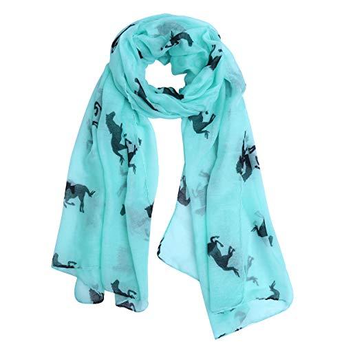 VORCOOL Lange Voile Schal mit Pferd Muster - Blau