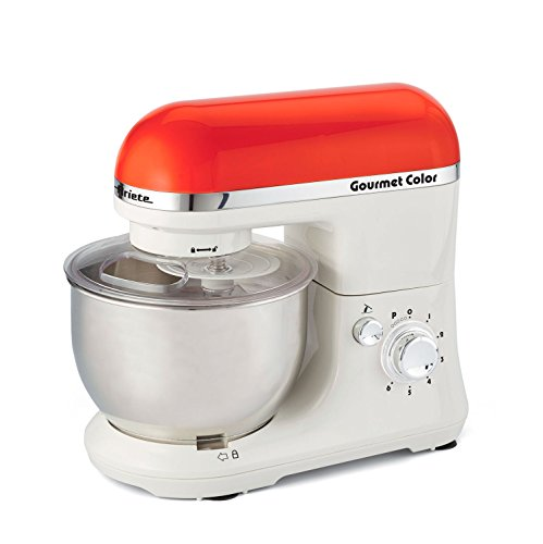Ariete Gourmet Color 1000W 4L Naranja, Color blanco - Robot de cocina (4 L, Naranja, Blanco, Giratorio, Locked, Acero inoxidable, Acero inoxidable)