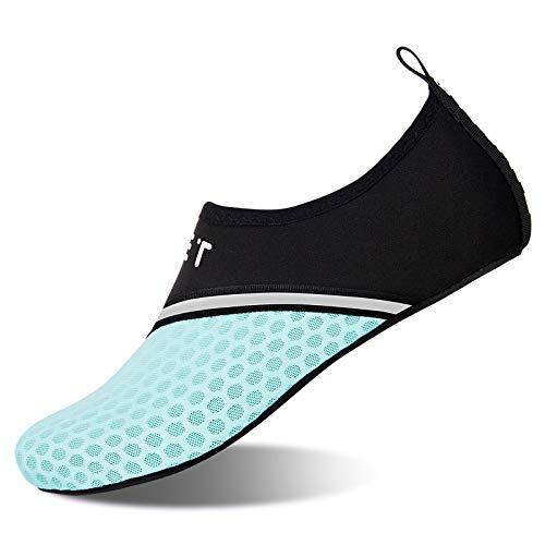 WateLves Strandschuhe Badeschuhe Schwimmen Aqua Barfuß Wassersport Yoga Schuhe Leicht Rutschfeste für Damen Herren (Abgeschrägtes Mondlicht, ),40/41