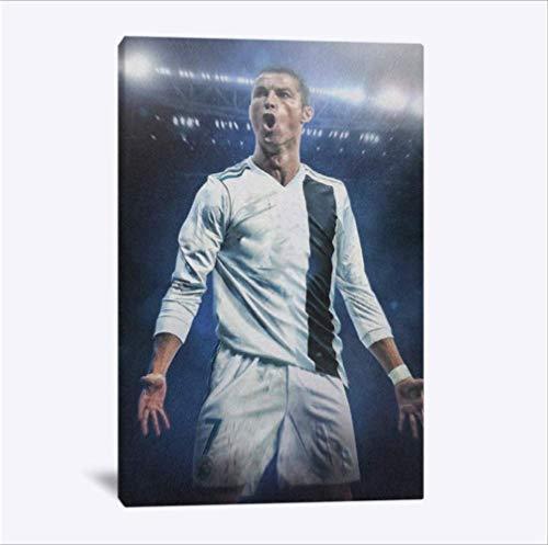 nobrand Cristiano Ronaldo Fußballer Portrai Moderne Wandkunst Leinwand Dekoration Poster Wohnzimmer Home Schlafzimmer Dekor Malerei 50X70 cm Kein Rahmen