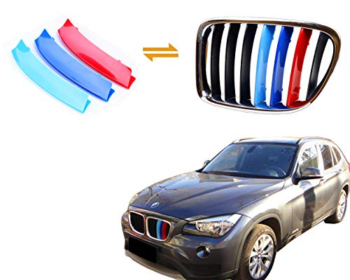 Jackey Awesome Exact Fit ///M-Colored Grille Insert Trims for BMW 2010-2015 BMW E84 X1 Center Kidney Grill (for BMW 2010-2015 X1, 7 Beams)