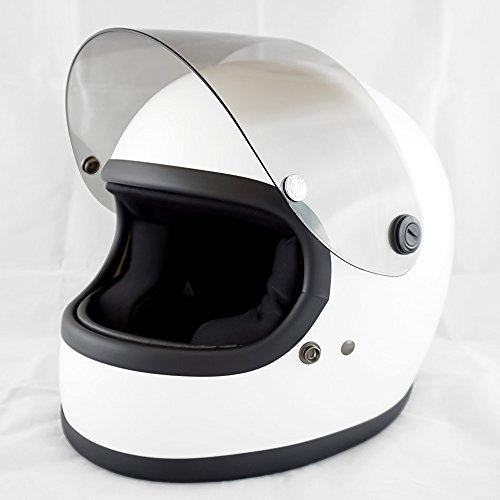 NEO VINTAGE レトロスタイル フルフェイス SG規格品 [ホワイト×ライトスモークシールド 白 Lサイズ:59-60cm対応] VT-7 バイクヘルメット