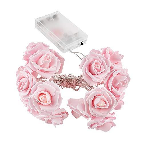 LED-Lichterkette | Rosen | 20 LED-Lichter | warmweiß | batteriebetrieben | romantische Zimmer-Deko (rosa)