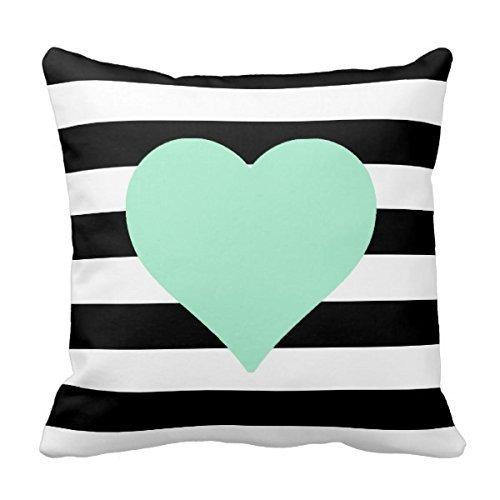Dutars Funda de cojín de algodón cuadrado de 45,7 x 45,7 cm, diseño de corazón a rayas, color blanco y negro