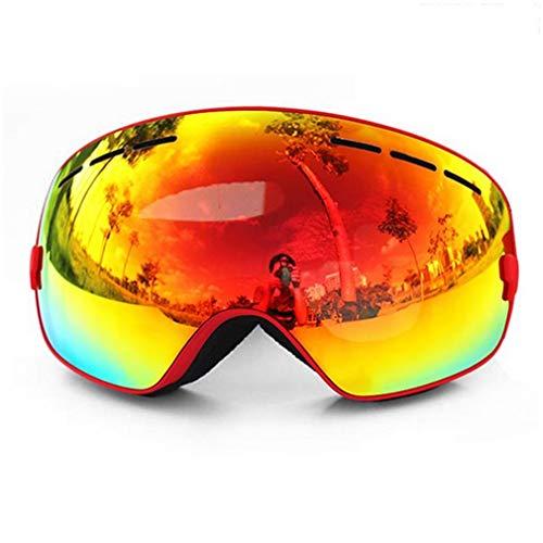 Mode Sferische skibril Dubbellaags UV400 Anti-condensbril Rood montuur en rode lens