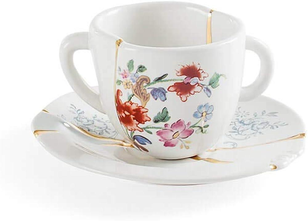 seletti kintsugi ,tazzina con piattino in porcellana e oro 24 carati mod. 1 124145