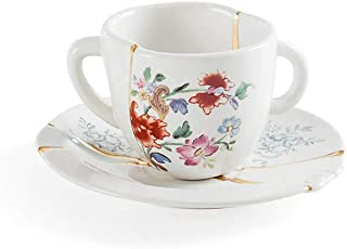 Seletti Kintsugi coffee cup with saucer in porcelain and 24 carat gold mod. 1