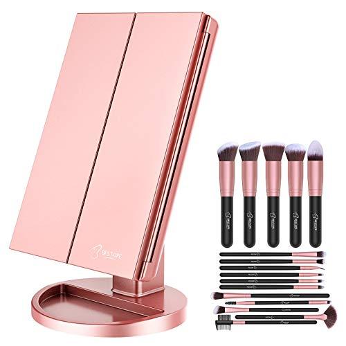 BESTOPE Makeup Brushes 16 PCs Makeup Brush Set Premium Synthetic Foundation Brush Make Up Brushes Kit & Makeup Mirror with Lights 21 Led Vanity Mirror with 2X/3X Magnification Lighted Makeup Mirror