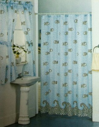 fish mosaic shower curtain